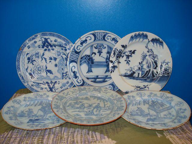 A collection of Chinese blue and white exportware circular plates 18th century and later