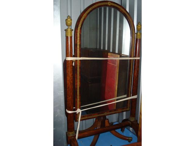 An Empire mahogany cheval glass