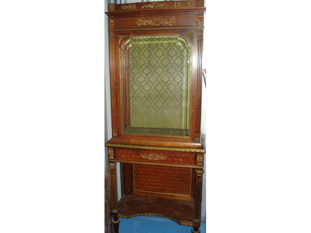 A 19th century French gilt metal mounted kingwood vitrine