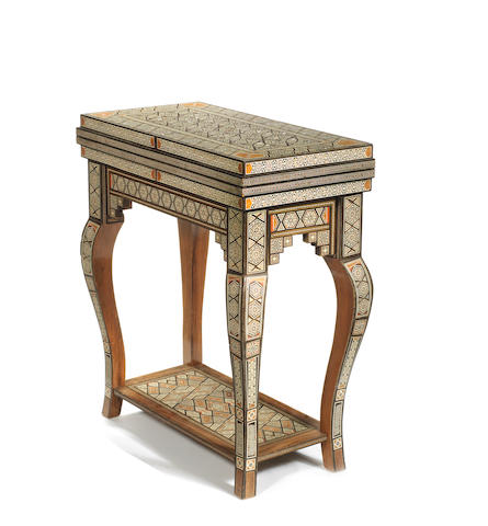 A Damascus early 20th century mother-of-pearl, bone, ivory, hardwood and ebony inlaid games table