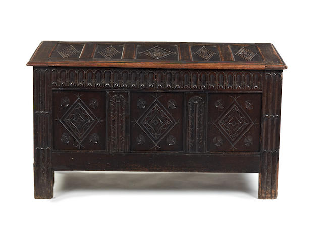 A 17th century and later oak coffer English