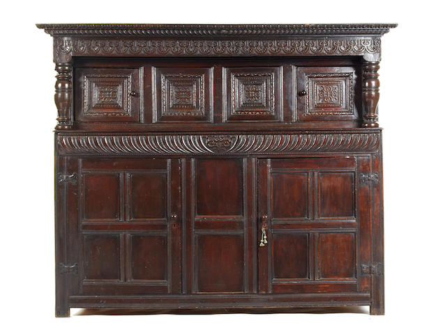 A Charles I oak court cupboard, circa 1640 Of large proportions