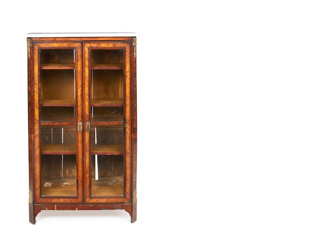 A Louis XV/XVI Transitional tulipwood and amaranth bibliotheque