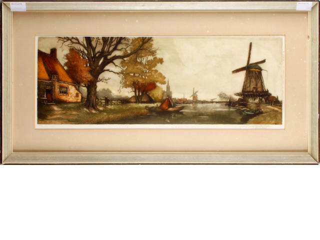 Dutch School River landscape with windmills, indistinctly signed in pencil and numbered 83/100, coloured etching,