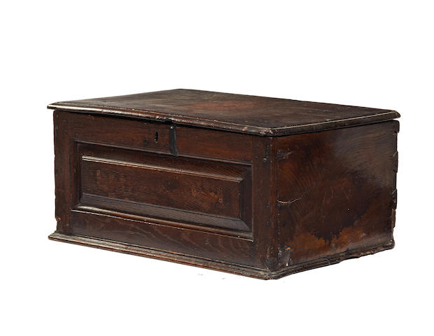 A late 17th/early 18th century and later boarded and joined oak box