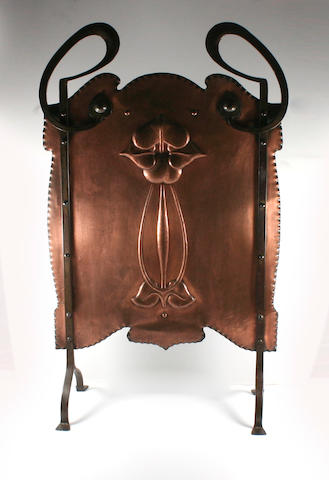 A late Victorian Arts and Crafts copper and wrought iron firescreen Circa 1900