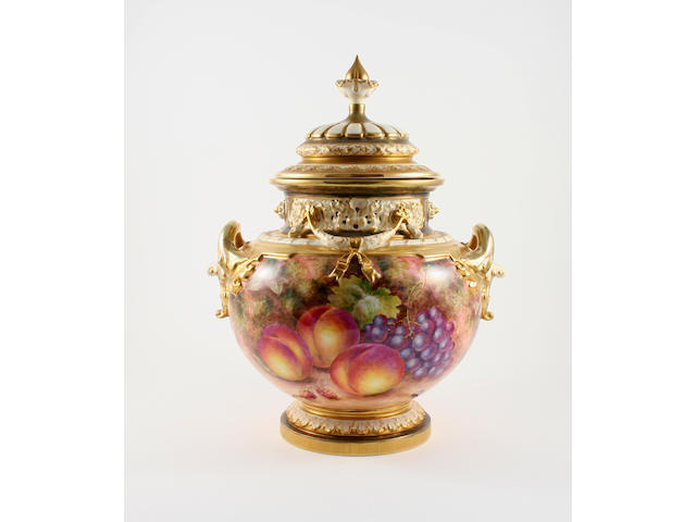 A Royal Worcester fruit-painted pot pourri vase and cover, painted by John Freeman Post War