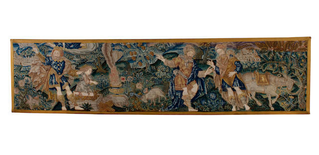 A late 16th/early 17th century needlework panel depicting the Sacrifice of Isaac