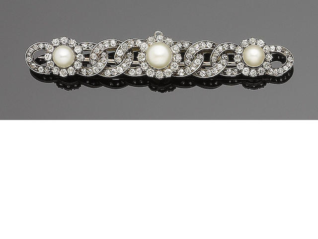 A 19th century pearl and diamond triple cluster bar brooch