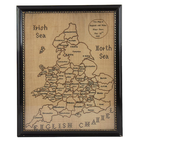 A William IV needlework map of England and Wales
