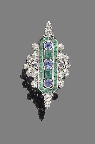 An emerald, sapphire and diamond dress ring
