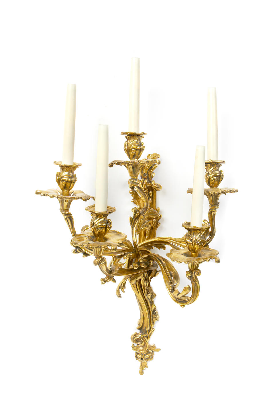 A set of four 20th century gilt brass five light wall appliquesin the Louis XV style