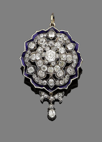 A late 19th century diamond and enamel brooch/pendant
