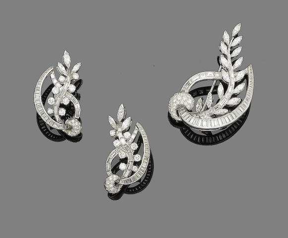 A diamond spray brooch and earring suite (2)