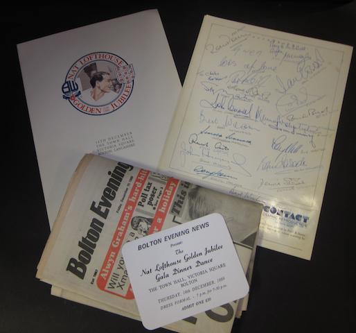 1989 Golden Jubilee Nat Lofthouse hand signed menu