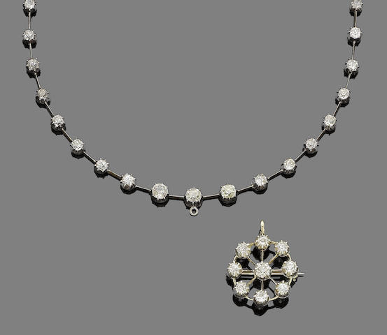 A diamond rivière pendant necklace/brooch (2)