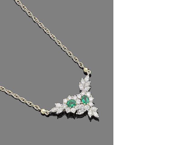An emerald and diamond pendant necklace, by Garrard,