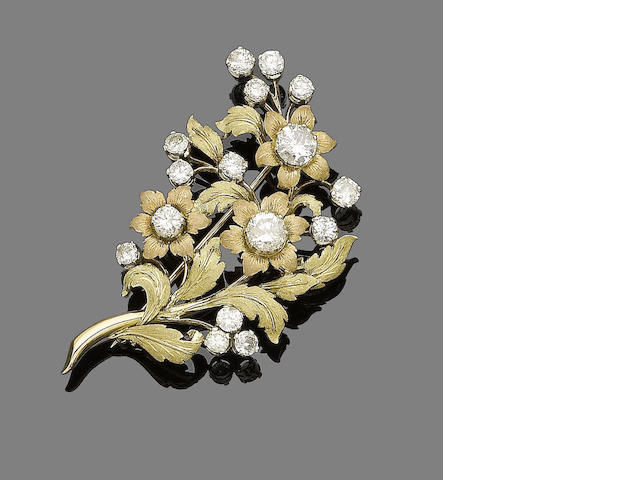A diamond-set spray brooch