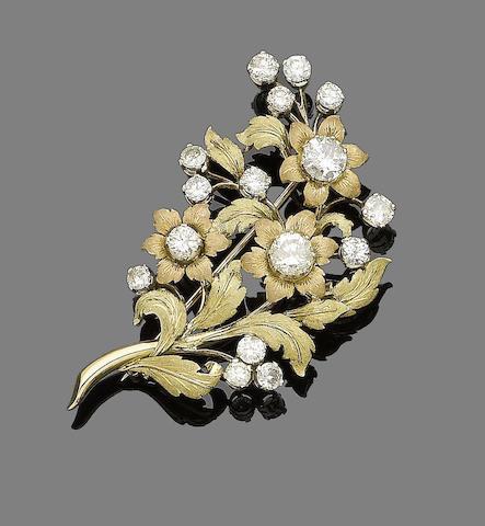 A diamond-set spray brooch