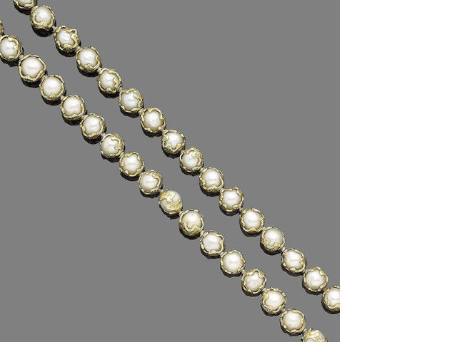 A gold and cultured pearl necklace, by Charles de Temple,