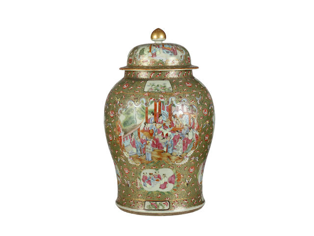A large Canton Export vase and cover with hardwood tripod stand, late 19th century