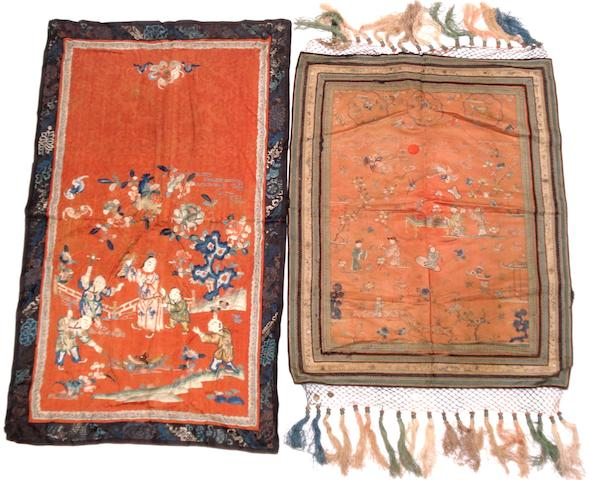 A collection of embroidered panels Late 19th/early 20th century