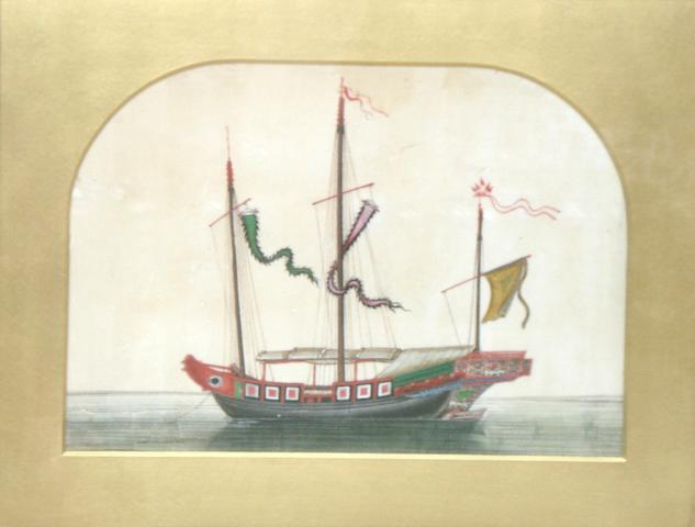 A set of four pith maritime paintings 19th century