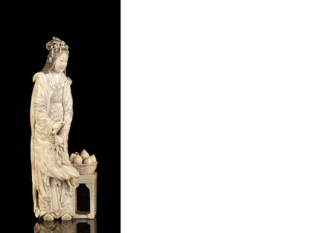 A Chinese carved ivory figure of the goddess Setobo, circa 1900