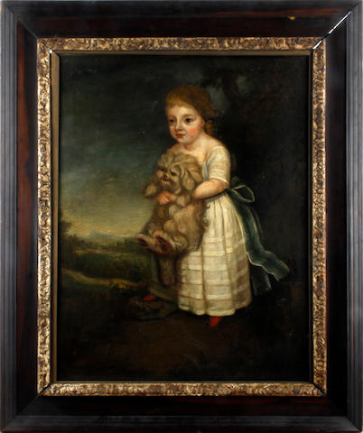 English School, 18th Century Portrait of a child, believed to be Hon. Ruth Francis Picton, with her pet dog in a landscape