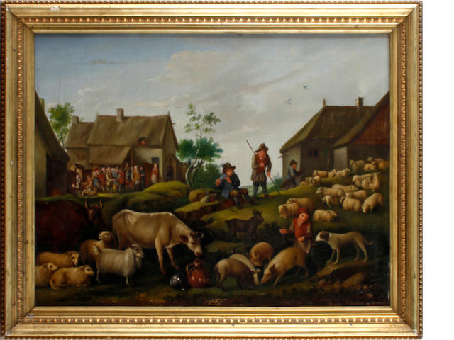 Manner of David Teniers the Elder Village scene with peasants and animals