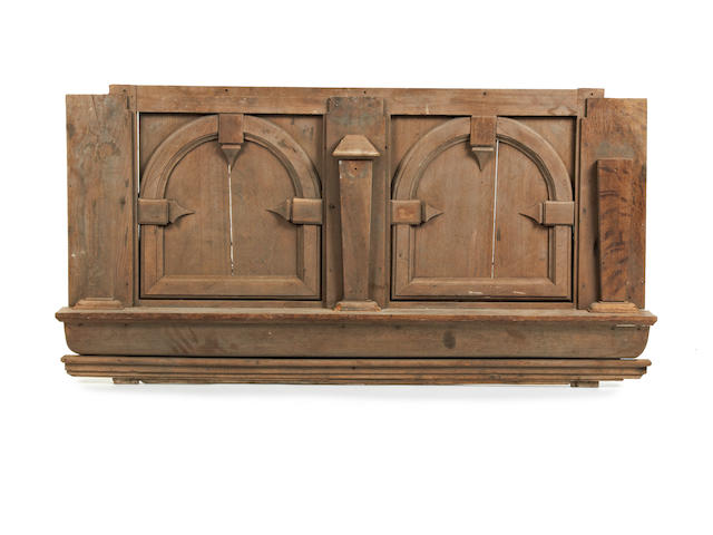 A mid-17th century oak overmantel or panel section, English, circa 1650