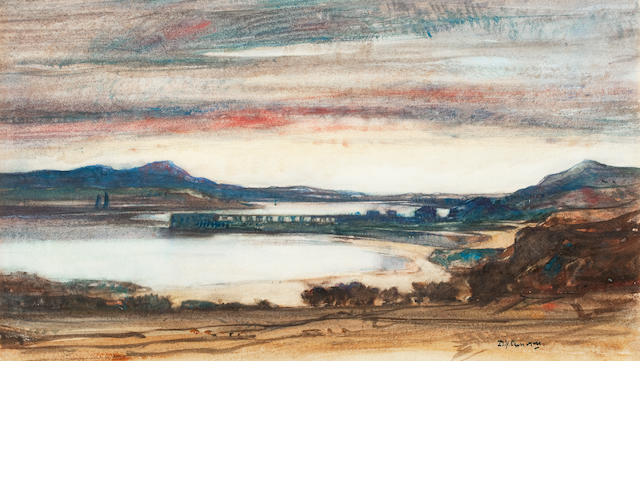Sir David Young Cameron, RA RSA RWS RSW RE (British, 1865-1945) Loch Linnhe 25 x 41 cm. (9 13/16 x 16 1/8 in.)
