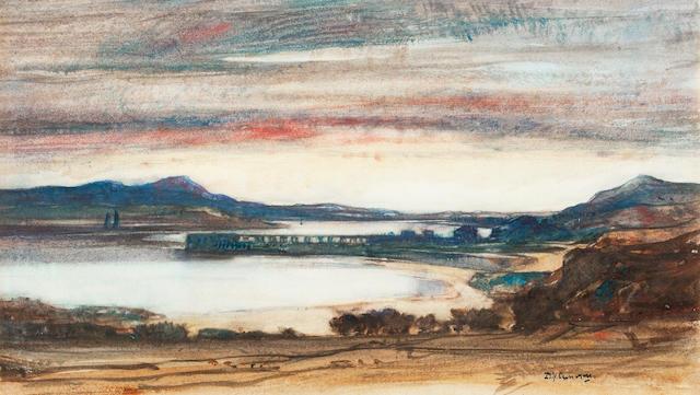 Sir David Young Cameron, RA RSA RWS RSW RE (British, 1865-1945) Loch Linnhe 25 x 41 cm. (9 13/16 x 16 1/8 in.)