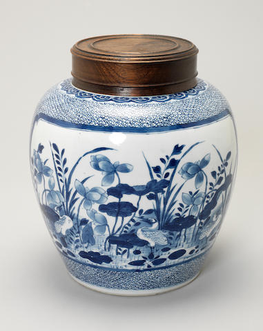 A blue and white ginger jar Kangxi