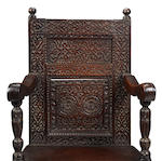 A fine Elizabeth I oak panel-back armchair Circa 1580