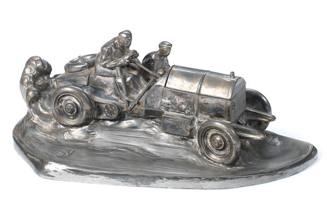 A racing car deskpiece by WMF, German, circa 1913,