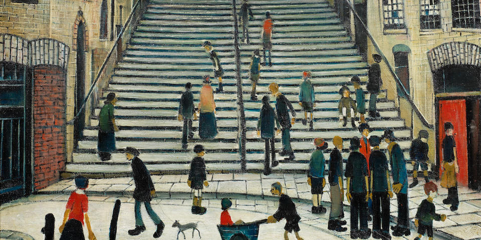 Laurence Stephen Lowry R.A. (British, 1887-1976) The Steps at Wick 43.2 x 53.3 cm. (17 x 21 in.)