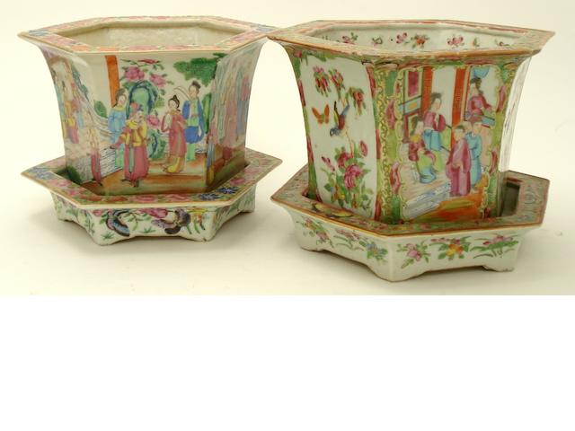 Two Canton hexagonal jardinières and stands 19th century