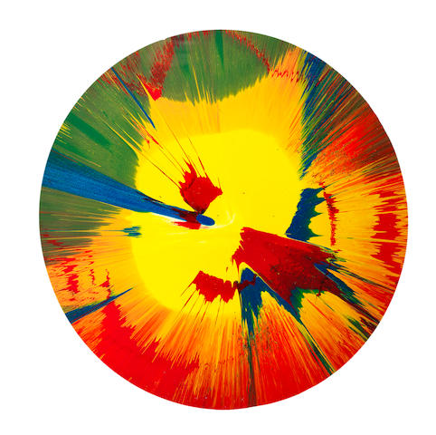 Damien Hirst (British, born 1965) Spin Painting 2005  signed on the reverse acrylic and glitter on paper  Diameter: 42.5 cm. 16 3/4 in.  This work was executed in 2005.