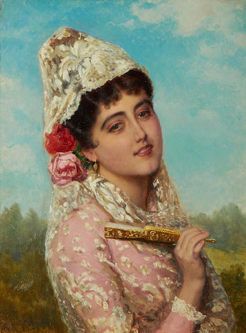J B Burgess, Spanish - Beauty, oil on canvas, gilt frame