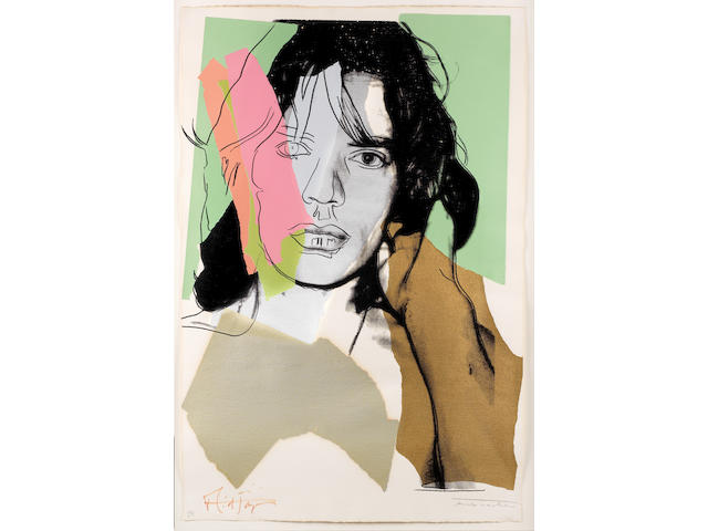 Andy Warhol (American, 1928-1987) Mick Jagger Screenprint in colours, 1975, on Arches Aquarelle, signed in pencil by the artist and by Mick Jagger in black felt-tip pen, numbered 220/250, printed by Alexander Heinrici, New York, published by Seabird Editions, London, with their stamp verso, the full sheet, 1105 x 737mm (43 1/2 x 29in)(SH)