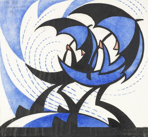 Sybil Andrews CPE (British/Canadian, 1898-1992) The Gale  Linocut printed in permanent blue, spectrum red and black, 1930, on thin oriental laid tissue, signed, titled and numbered 23/50 in pencil, with margins, 210 x 246m (8 1/4 x 9 7/8in)(B)