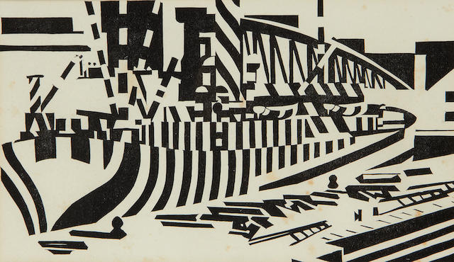 Edward Wadsworth (British, 1889-1949) Dazzled Ship in Dry Dock, from Modern Woodcutters 4 Woodcut, 1921, on wove, most likely printed from the original blocks, printed by Morland Press Ltd, London, published by The Little Art Rooms, London, 130 x 220mm (5 1/8 x 8 3/4in)(B)