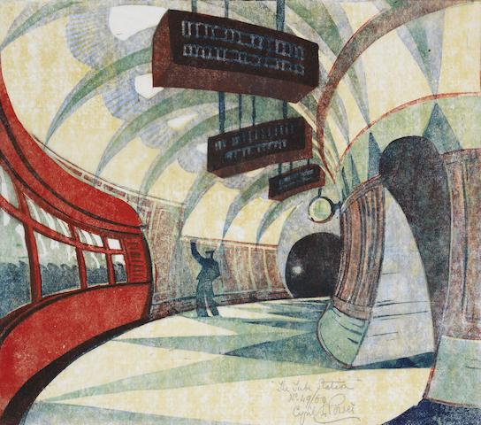 Cyril Edward Power (British, 1872-1951) Tube Station Linocut printed in yellow ochre, spectrum red, permanent blue, viridian and Chinese blue, c.1932, a good impression, on buff oriental laid tissue, signed, titled and numbered 49/60 in pencil, with margins, 258 x 295mm (10 x 11 5/8in)(B)