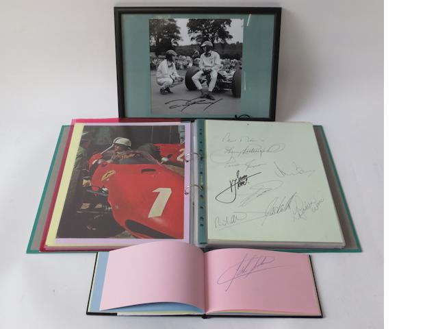 An album and a folder of Grand Prix and Formula 1 racing driver autographs,