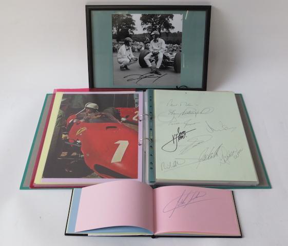 An album and a folder of Grand Prix and Formula 1 racing driver autographs,