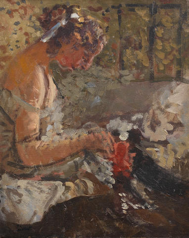 Walter Richard Sickert A.R.A. (British, 1860-1942) Girl on a bed sewing 38.5 x 31 cm. (15 1/4 x 12 1/4 in.)