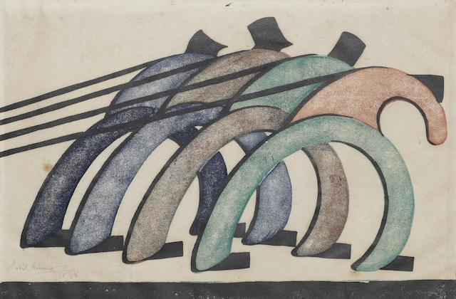 Sybil Andrews CPE (British/Canadian, 1898-1992) Haulers Linocut printed in reddish brown, viridian, Prussian blue and black, 1929, on cream oriental laid, signed and numbered 35/50 in pencil, with margins, 182 x 302mm (7 1/8 x 11 7/8in)(B)