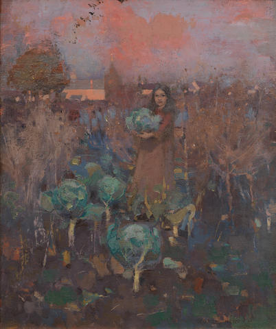 George Henry, RA RSA RSW (British, 1858-1943) The Cabbage Girl 45.8 x 38 cm. (18 x 15 in.)