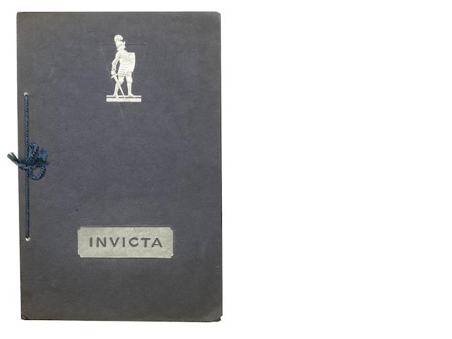 An Invicta 6-Cylinder 4½ Litre sales brochure, 1929,